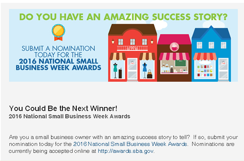 Small Business Awards- SBA