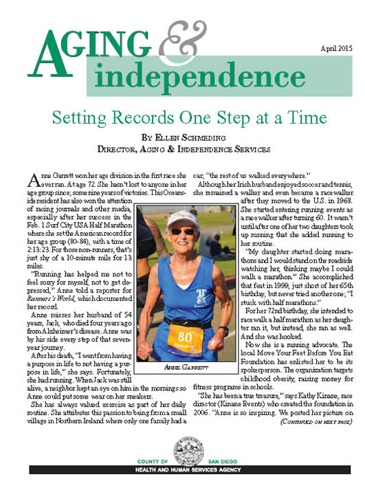 Aging and Independence Services - AIS April 2015 Ebulletin