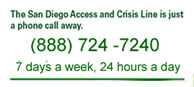 San Diego Access and Crisis Line 888 724 7240